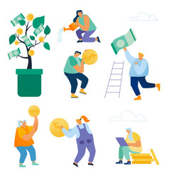 Set businesspeople growing money tree creating vector
