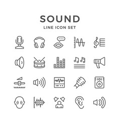 Set line icons of sound vector