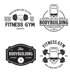 set monochrome fitness emblems labels badges vector image