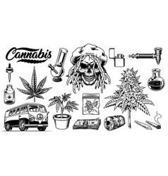 Set of cannabis objects vector