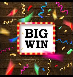 shining sign big win banner vector image