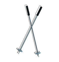 Ski sticks winter sport accessory elements vector