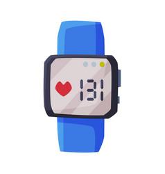 Smartwatch with heart rate healthcare app vector