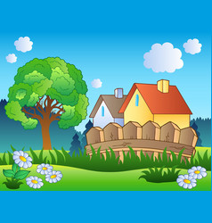 spring landscape with two houses vector image