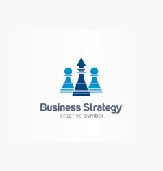 strategy chess and arrow up creative symbol vector image