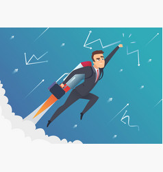 Success business businessman goes on to the moon vector