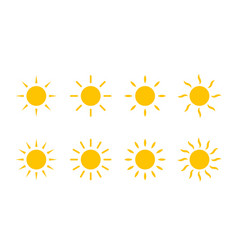 sun yellow sunshine icon with line and swirl vector image