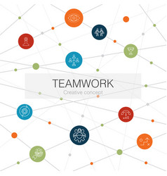 Teamwork trendy web template with simple icons vector
