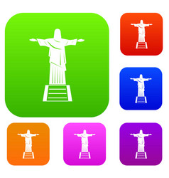the christ the redeemer statue set color vector image