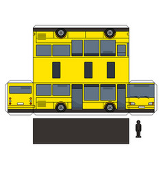 The simple paper model of a yellow bus vector