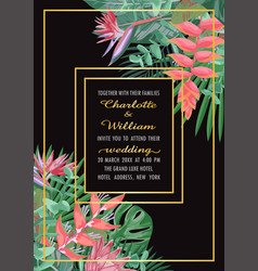 tropical wedding invitation with gold frame vector image