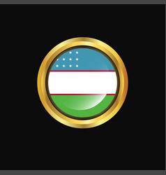 Uzbekistan flag golden button vector