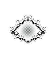 Vintage black frame with floral patternflowers vector