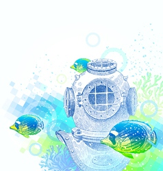 Vintage diving helmet and tropical fishes vector