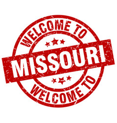 Welcome to missouri red stamp vector