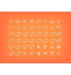 White weather icons set Thin line symbols vector