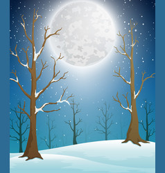 Winter forest landscape with moonlight and bare tr vector