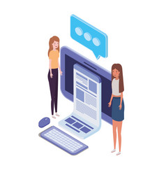 Women with desktop computer screen and email vector