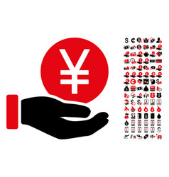 yen coin payment icon with 90 bonus pictograms vector image
