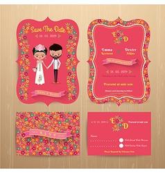 Bride and groom rustic floral wedding invitation vector