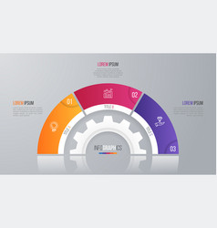 circle chart template for infographics 3 vector image vector image