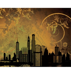 city with grunge vector image vector image