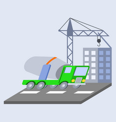 concrete mixer truck flat skew icon vector image