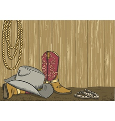 Cowboy boots and hat vector image vector image