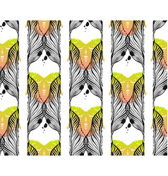 hand drawn abstract graphic autumn leaves vector image
