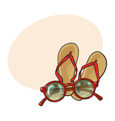 pair of flip flops and fashionable round vector image vector image