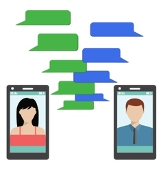 Two black smartphones with blank speech bubbles vector image