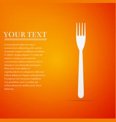 Fork flat icon on orange background vector