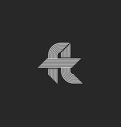 letters ft logo idea monogram linked hipster f vector image