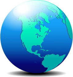 North and South America Map of the World Globe vector image vector image