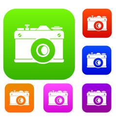 retro camera set collection vector image vector image