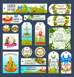Easter tag set with egg hunt rabbit and flowers vector