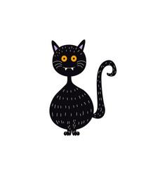 flat halloween witch black cat vector image