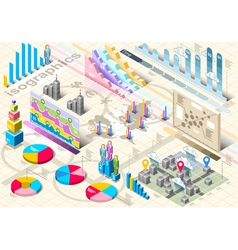 Isometric Infographic Set Elements vector image vector image