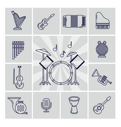 linear musical instruments icons set vector image vector image