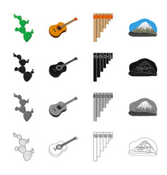 cactus mexican guitar wind instrument pan flute vector image vector image
