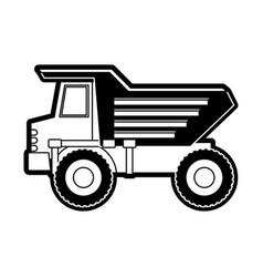 dump truck flat icon black silhouette vector image