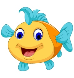 funny fish cartoon smiling vector image vector image