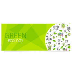 green ecology flyer with circle full of eco icons vector image vector image