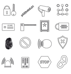 security black simple outline icons set eps10 vector image vector image
