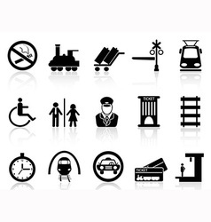 Train station and service icons vector image vector image