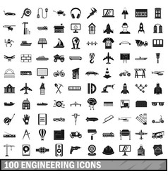 100 engineering icons set simple style vector