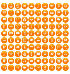 100 national flag icons set orange vector