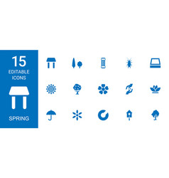 15 spring icons vector image