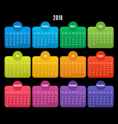 2018 calendar color design on black background vector