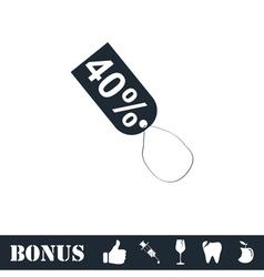 40 percent discount icon flat vector